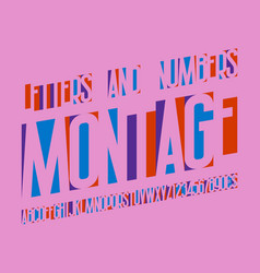 Montage alphabet with numbers and currency vector