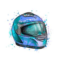 motorcycle helmet from a splash of watercolor vector image