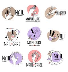 Nail studio manicure salon labels and logo vector