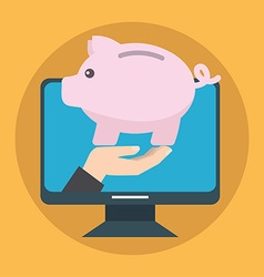 Online savings concept Piggy bank vector image