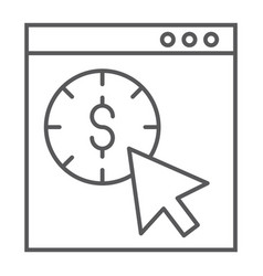 pay per click thin line icon seo and money vector image