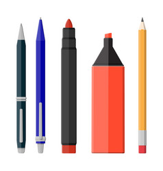 pens pencil markers set isolated on white vector image