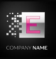 pink letter e logo symbol in the silver square vector image