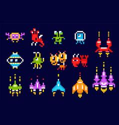 Pixel game icon set vector