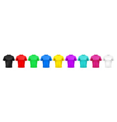 realistic color t-shirt mockup red green vector image