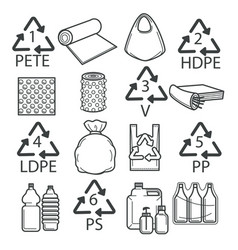 Recycling symbols plastic packaging or wrapping vector