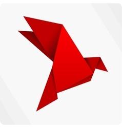 Red origami bird vector