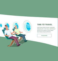 Relaxed male airplane passenger wear headphone vector
