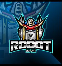 Robot head esport mascot logo vector