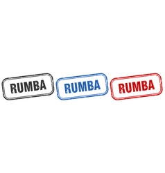 Rumba square isolated sign set rumba stamp vector
