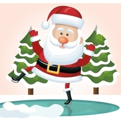 santa claus jump on ice with tree design vector image