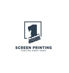Screen printing logo design concept vector