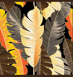 Seamless autumn pattern tropical leaves vector