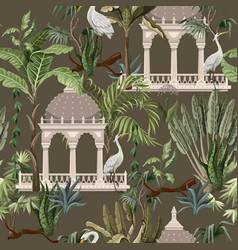 seamless pattern with ancient arbor and herons in vector image