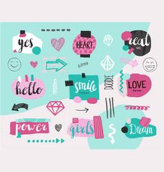 set collage girlish banners tags hand vector image