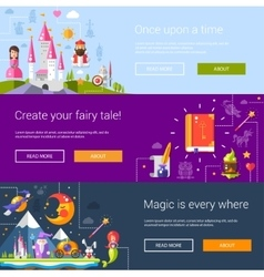 Set of banners headers with fairy vector image