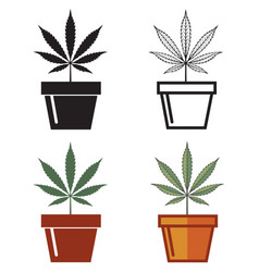 Set of cannabis leaf in pot vector