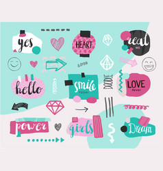 set of collage girlish banners tags hand vector image