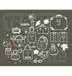 Set of doodle bags vector