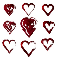 Set of hearts stylized vector