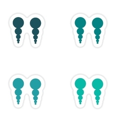 Set of paper stickers on white background pearl vector