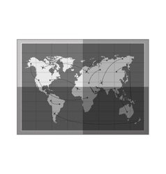 silhouette frame map of the world monochrome vector image
