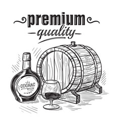 sketch whiskey bottle and glass and wooden barrel vector image