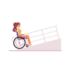 Smiling handicapped woman in wheelchair driving on vector