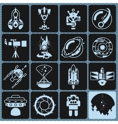 Space icons monochrome vector