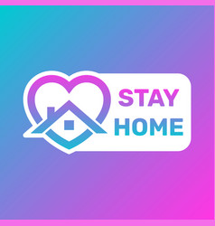 Stay home icon and button stay home sticker story vector