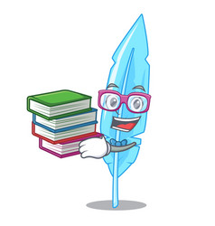 Student with book feather mascot cartoon style vector