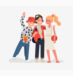 three best friends standing together trendy flat vector image