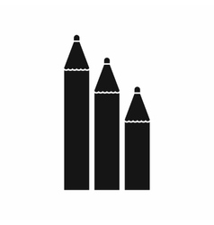 Three pencils icon simple style vector image