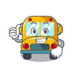 thumbs up school bus character cartoon vector image