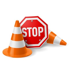 Traffic cones and red stop sign vector