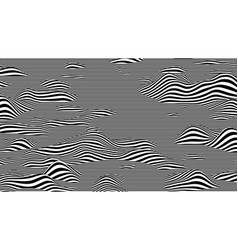 trendy 3d black and white stripes distorted vector image