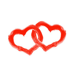 Two intertwined red hearts drawn with a brush on vector