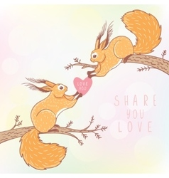 two squirrels color vector image