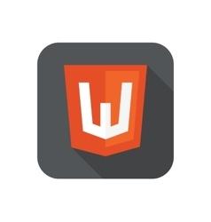 Web development shield sign - html5 w vector