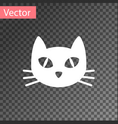 white cat icon isolated on transparent background vector image