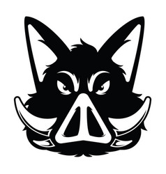 wild hog or boar head mascot silhouette vector image