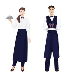 Young beautiful waitress and handsome waiter vector