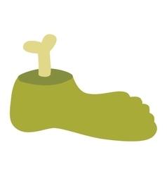 Zombie halloween cartoon foot vector image