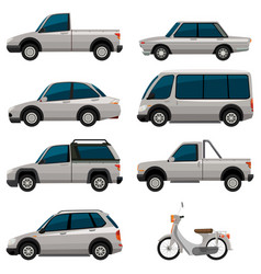 Different types of vehicles in white color vector