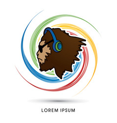 face gorilla with sun glasses and headphone vector image vector image