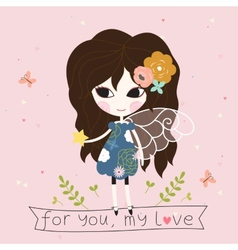 Fairy with star in the hand card vector image vector image