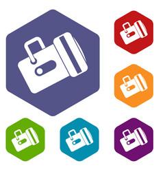 flashlight icons set hexagon vector image vector image