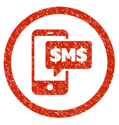 Phone sms rounded grainy icon vector