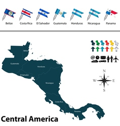 Political map of Central America with flags vector image vector image