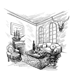 Room Sketch Background vector image vector image